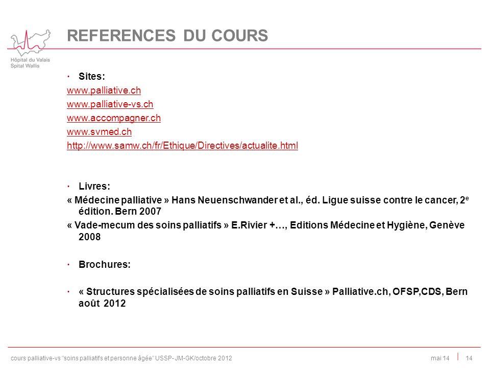 | Sites: www.palliative.ch www.palliative-vs.ch www.accompagner.ch www.svmed.ch http://www.samw.ch/fr/Ethique/Directives/actualite.html Livres: « Méde