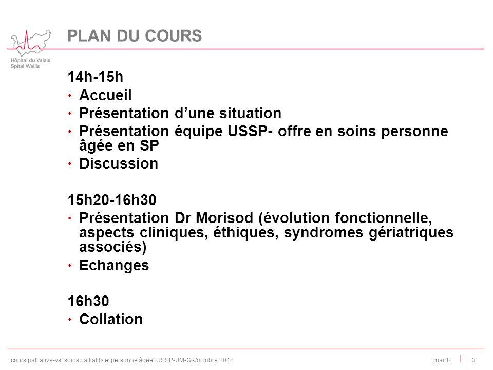 | 14h-15h Accueil Présentation dune situation Présentation équipe USSP- offre en soins personne âgée en SP Discussion 15h20-16h30 Présentation Dr Mori