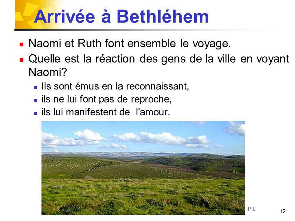 12 Arrivée à Bethléhem Naomi et Ruth font ensemble le voyage. Quelle est la réaction des gens de la ville en voyant Naomi? Ils sont émus en la reconna
