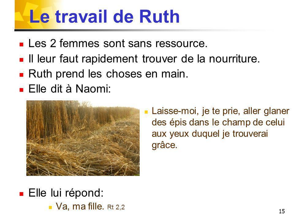 15 Le travail de Ruth Les 2 femmes sont sans ressource. Il leur faut rapidement trouver de la nourriture. Ruth prend les choses en main. Elle dit à Na