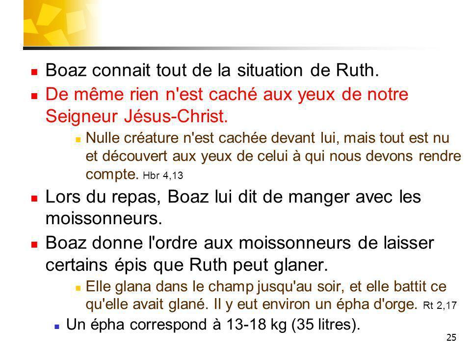 25 Boaz connait tout de la situation de Ruth. De même rien n'est caché aux yeux de notre Seigneur Jésus-Christ. Nulle créature n'est cachée devant lui