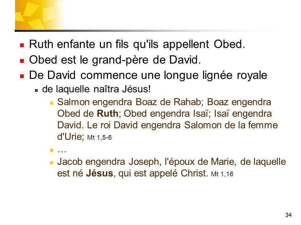 34 Ruth enfante un fils qu'ils appellent Obed. Obed est le grand-père de David. De David commence une longue lignée royale de laquelle naîtra Jésus! S