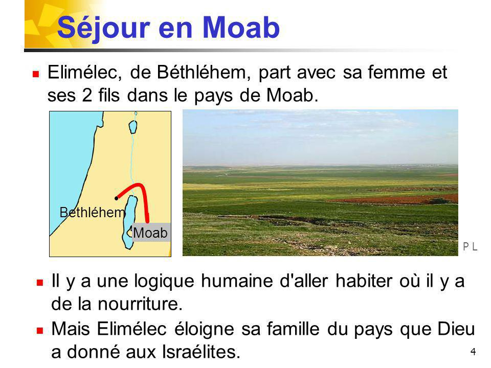 4 Séjour en Moab Bethléhem Moab Elimélec, de Béthléhem, part avec sa femme et ses 2 fils dans le pays de Moab. Il y a une logique humaine d'aller habi