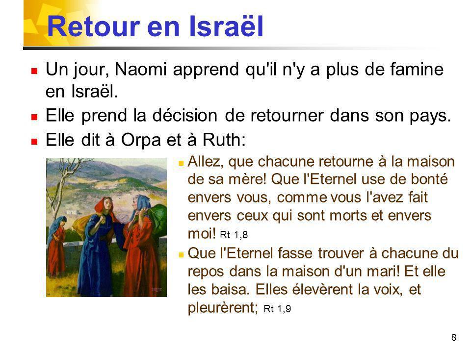 8 Retour en Israël Un jour, Naomi apprend qu'il n'y a plus de famine en Israël. Elle prend la décision de retourner dans son pays. Elle dit à Orpa et
