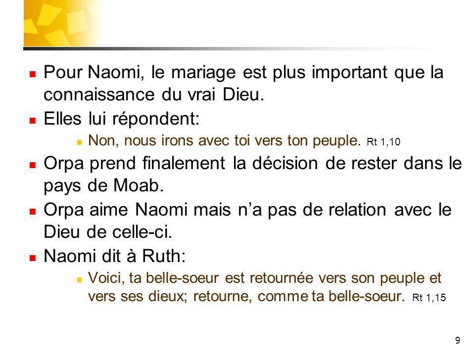 9 Pour Naomi, le mariage est plus important que la connaissance du vrai Dieu. Elles lui répondent: Non, nous irons avec toi vers ton peuple. Rt 1,10 O