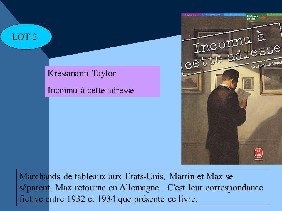 Kressmann Taylor Inconnu à cette adresse Marchands de tableaux aux Etats-Unis, Martin et Max se séparent. Max retourne en Allemagne. C'est leur corres