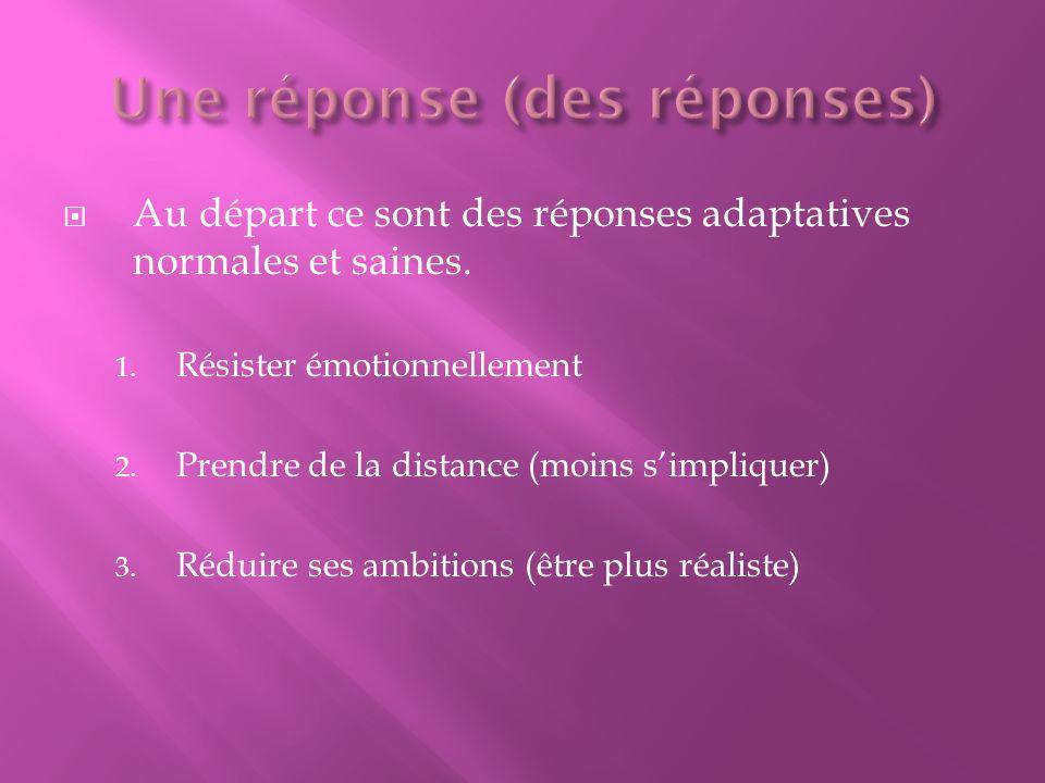 Au départ ce sont des réponses adaptatives normales et saines. 1. Résister émotionnellement 2. Prendre de la distance (moins simpliquer) 3. Réduire se