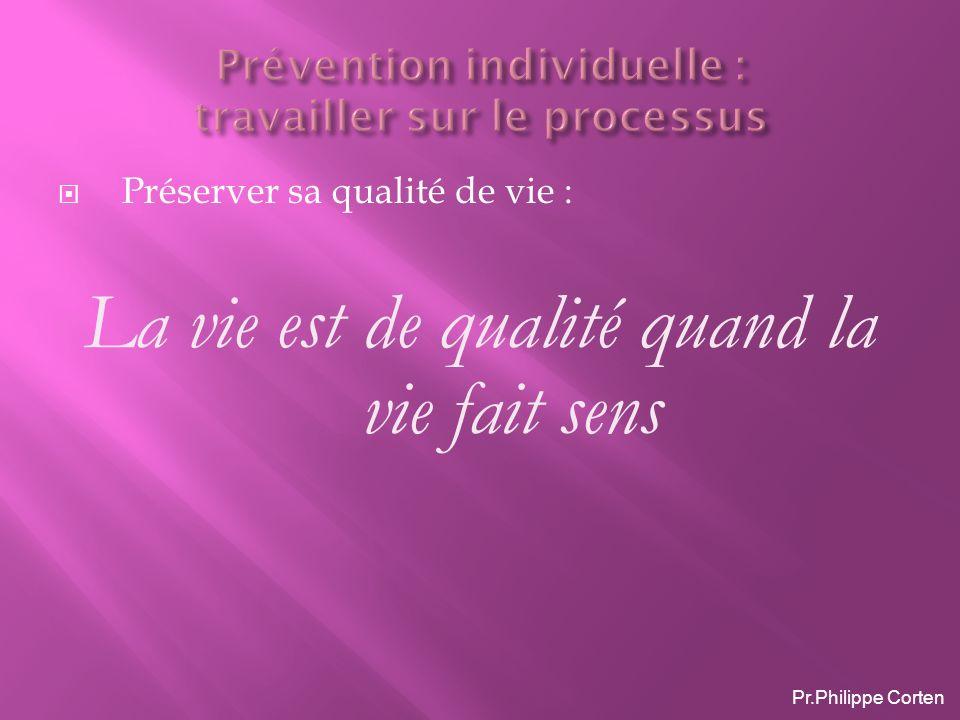 Préserver sa qualité de vie : La vie est de qualité quand la vie fait sens Pr.Philippe Corten