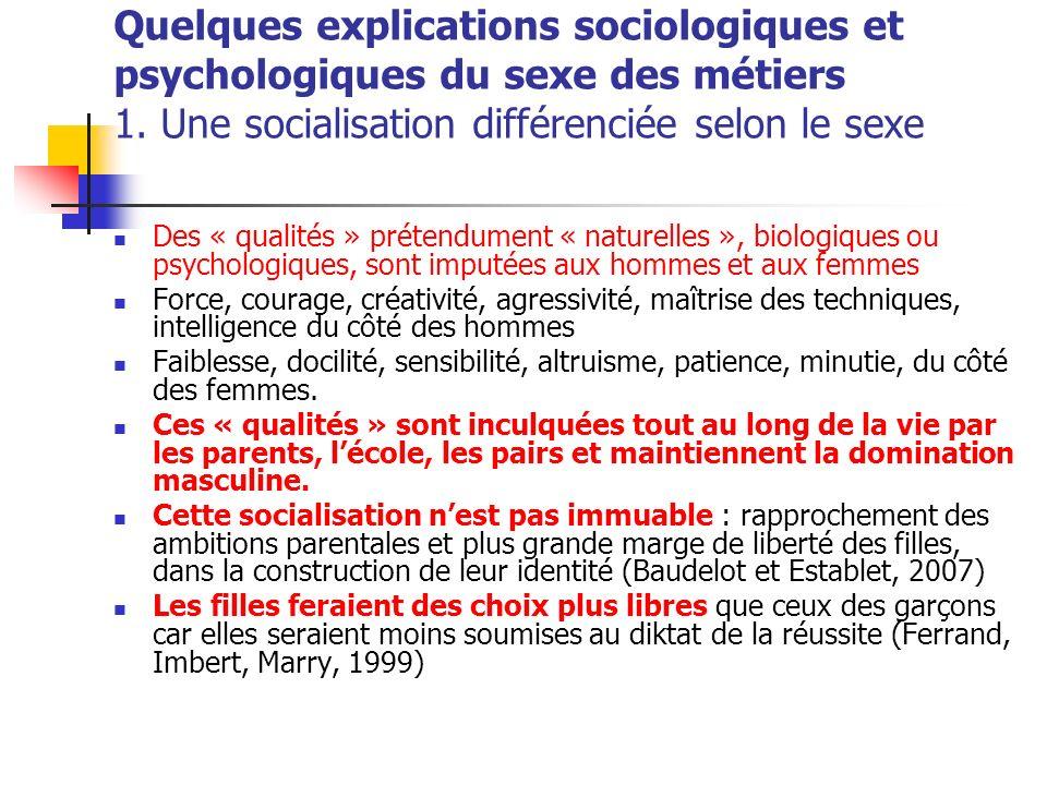 Quelques explications sociologiques et psychologiques du sexe des métiers 1. Une socialisation différenciée selon le sexe Des « qualités » prétendumen