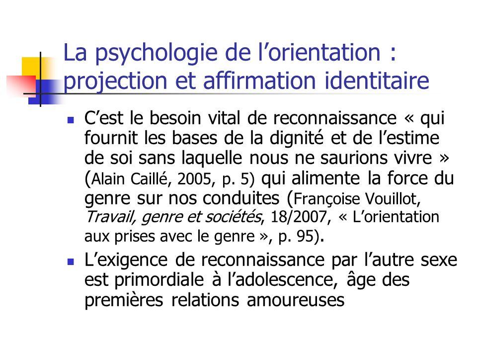 La psychologie de lorientation : projection et affirmation identitaire Cest le besoin vital de reconnaissance « qui fournit les bases de la dignité et de lestime de soi sans laquelle nous ne saurions vivre » ( Alain Caillé, 2005, p.