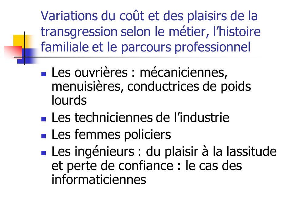 Variations du coût et des plaisirs de la transgression selon le métier, lhistoire familiale et le parcours professionnel Les ouvrières : mécaniciennes