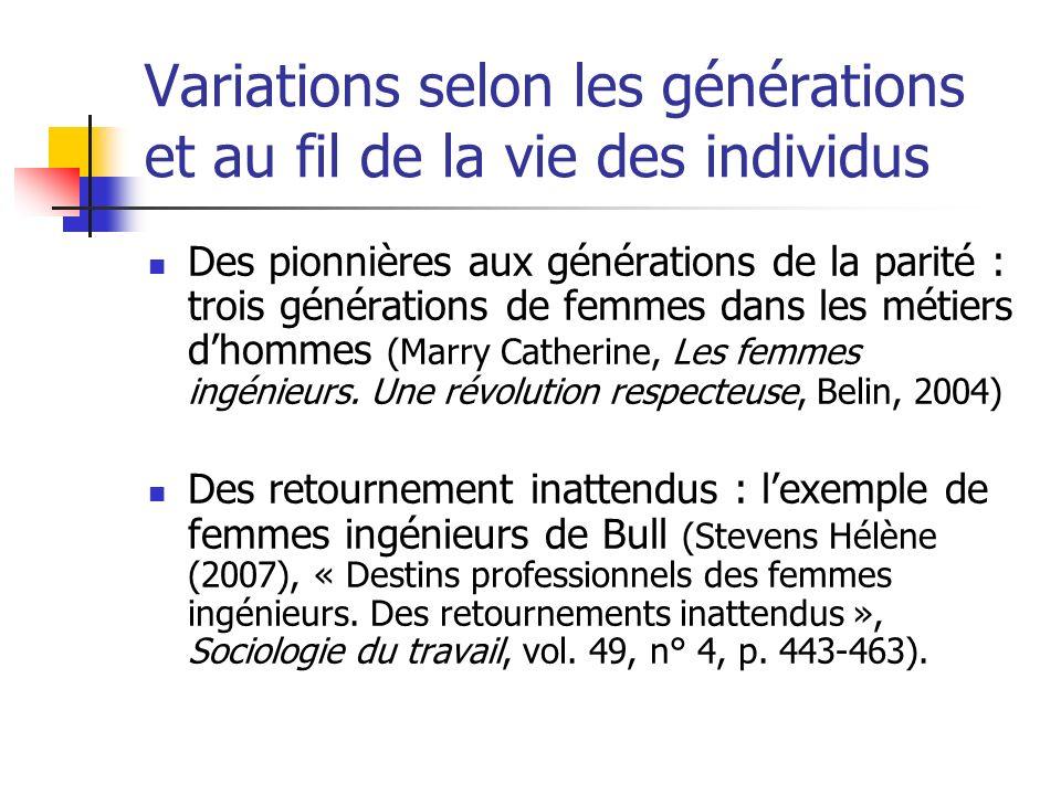 Variations selon les générations et au fil de la vie des individus Des pionnières aux générations de la parité : trois générations de femmes dans les métiers dhommes (Marry Catherine, Les femmes ingénieurs.