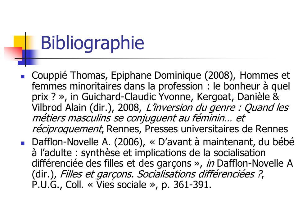 Bibliographie Couppié Thomas, Epiphane Dominique (2008), Hommes et femmes minoritaires dans la profession : le bonheur à quel prix ? », in Guichard-Cl