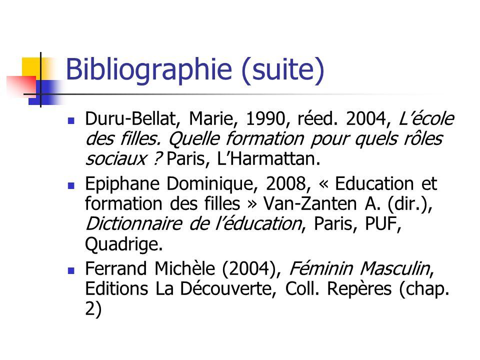 Bibliographie (suite) Duru-Bellat, Marie, 1990, réed. 2004, Lécole des filles. Quelle formation pour quels rôles sociaux ? Paris, LHarmattan. Epiphane