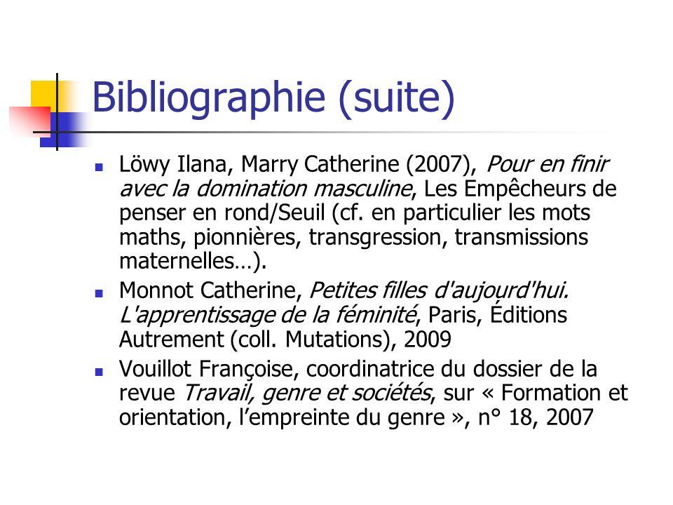 Bibliographie (suite) Löwy Ilana, Marry Catherine (2007), Pour en finir avec la domination masculine, Les Empêcheurs de penser en rond/Seuil (cf.