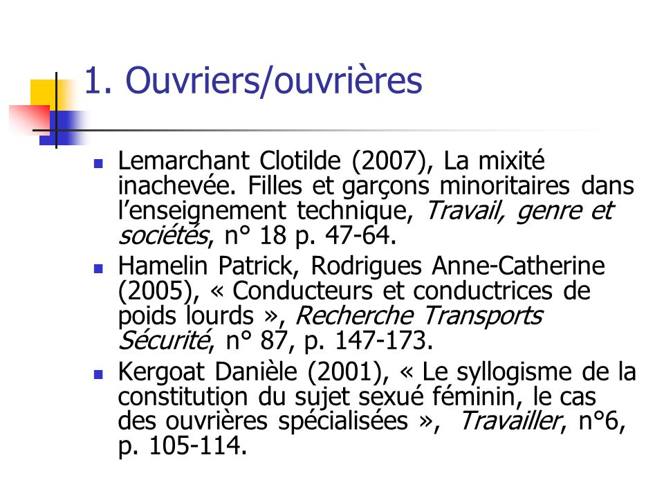 1. Ouvriers/ouvrières Lemarchant Clotilde (2007), La mixité inachevée. Filles et garçons minoritaires dans lenseignement technique, Travail, genre et