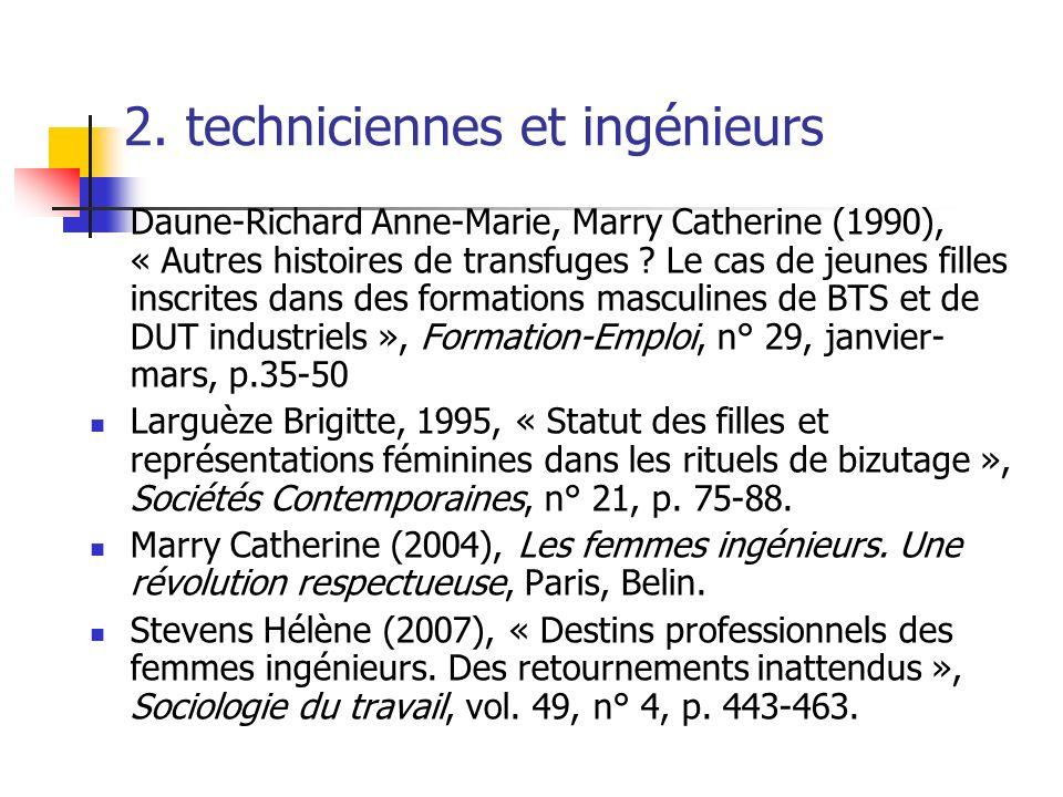 2. techniciennes et ingénieurs Daune-Richard Anne-Marie, Marry Catherine (1990), « Autres histoires de transfuges ? Le cas de jeunes filles inscrites
