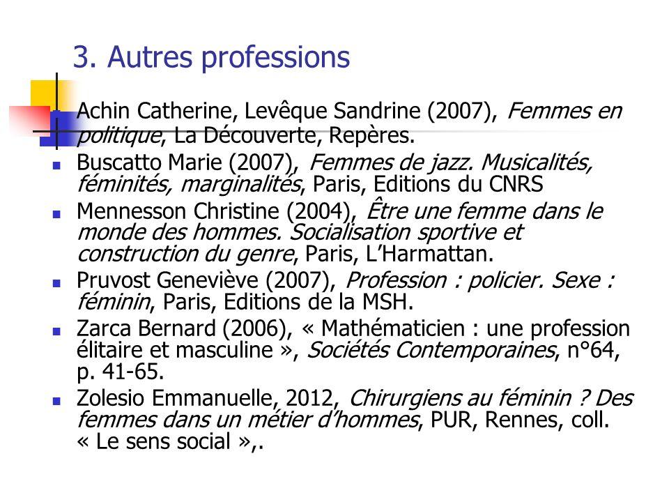 3. Autres professions Achin Catherine, Levêque Sandrine (2007), Femmes en politique, La Découverte, Repères. Buscatto Marie (2007), Femmes de jazz. Mu