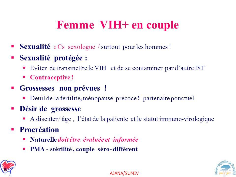 AJANA/SUMIV 10 Femme VIH+ en couple Sexualité : Cs sexologue / surtout pour les hommes ! Sexualité protégée : Eviter de transmettre le VIH et de se co