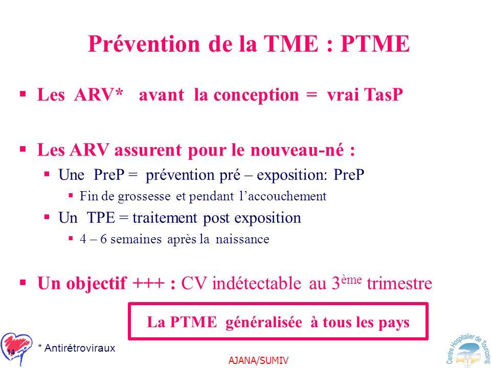 AJANA/SUMIV 14 Prévention de la TME : PTME Les ARV* avant la conception = vrai TasP Les ARV assurent pour le nouveau-né : Une PreP = prévention pré –
