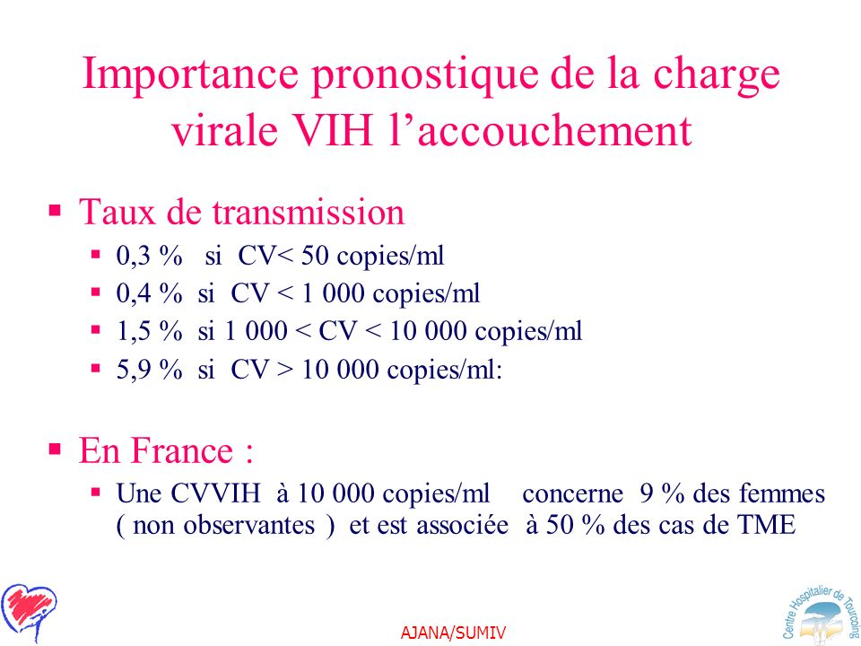 AJANA/SUMIV Importance pronostique de la charge virale VIH laccouchement Taux de transmission 0,3 % si CV< 50 copies/ml 0,4 % si CV < 1 000 copies/ml 1,5 % si 1 000 < CV < 10 000 copies/ml 5,9 % si CV > 10 000 copies/ml: En France : Une CVVIH à 10 000 copies/ml concerne 9 % des femmes ( non observantes ) et est associée à 50 % des cas de TME
