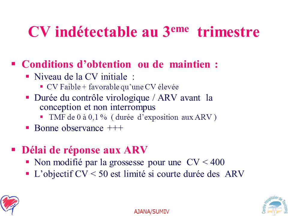 AJANA/SUMIV CV indétectable au 3 eme trimestre Conditions dobtention ou de maintien : Niveau de la CV initiale : CV Faible + favorable quune CV élevée