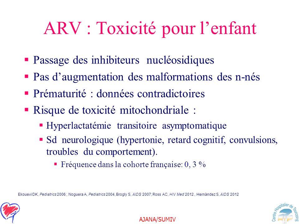 AJANA/SUMIV ARV : Toxicité pour lenfant Passage des inhibiteurs nucléosidiques Pas daugmentation des malformations des n-nés Prématurité : données con