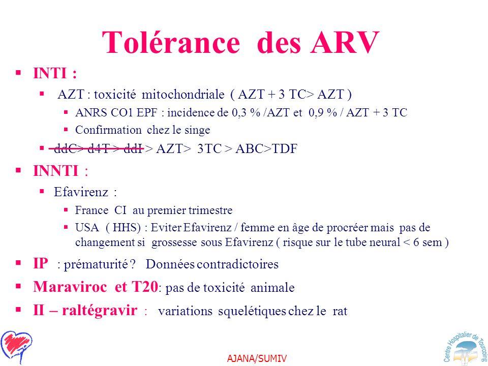 AJANA/SUMIV Tolérance des ARV INTI : AZT : toxicité mitochondriale ( AZT + 3 TC> AZT ) ANRS CO1 EPF : incidence de 0,3 % /AZT et 0,9 % / AZT + 3 TC Co