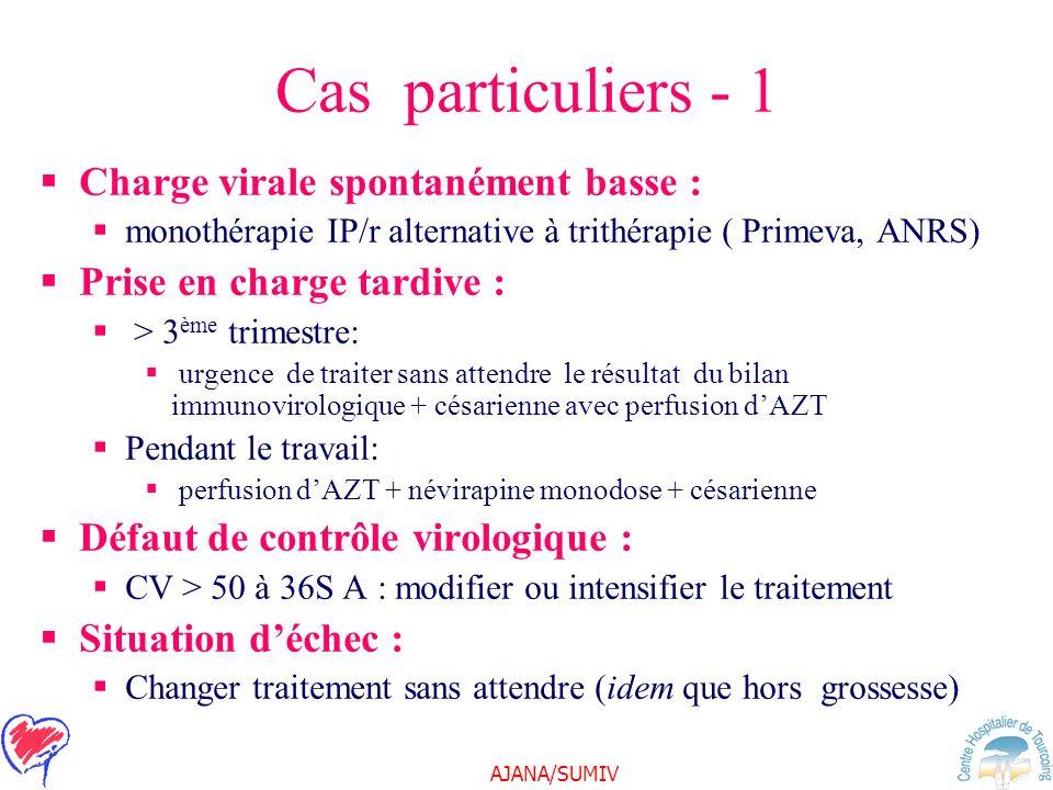 AJANA/SUMIV Cas particuliers - 1 Charge virale spontanément basse : monothérapie IP/r alternative à trithérapie ( Primeva, ANRS) Prise en charge tardi