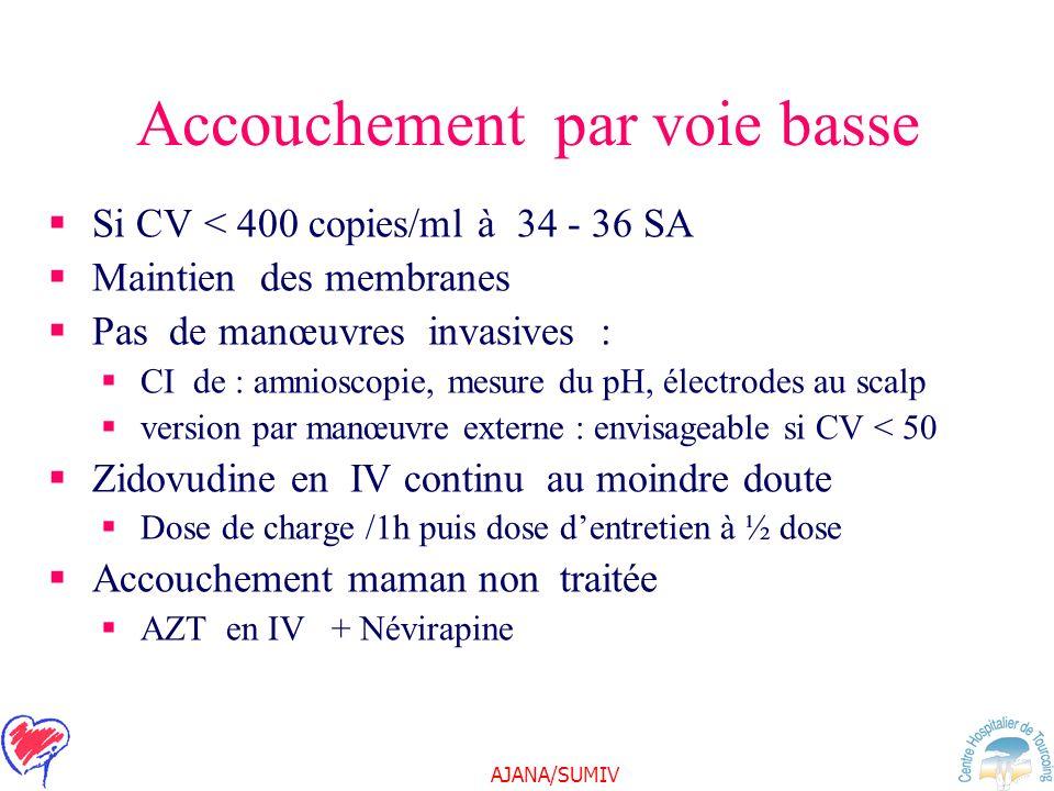 AJANA/SUMIV Accouchement par voie basse Si CV < 400 copies/ml à 34 - 36 SA Maintien des membranes Pas de manœuvres invasives : CI de : amnioscopie, me