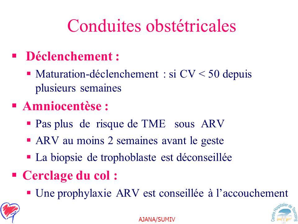 AJANA/SUMIV Conduites obstétricales Déclenchement : Maturation-déclenchement : si CV < 50 depuis plusieurs semaines Amniocentèse : Pas plus de risque