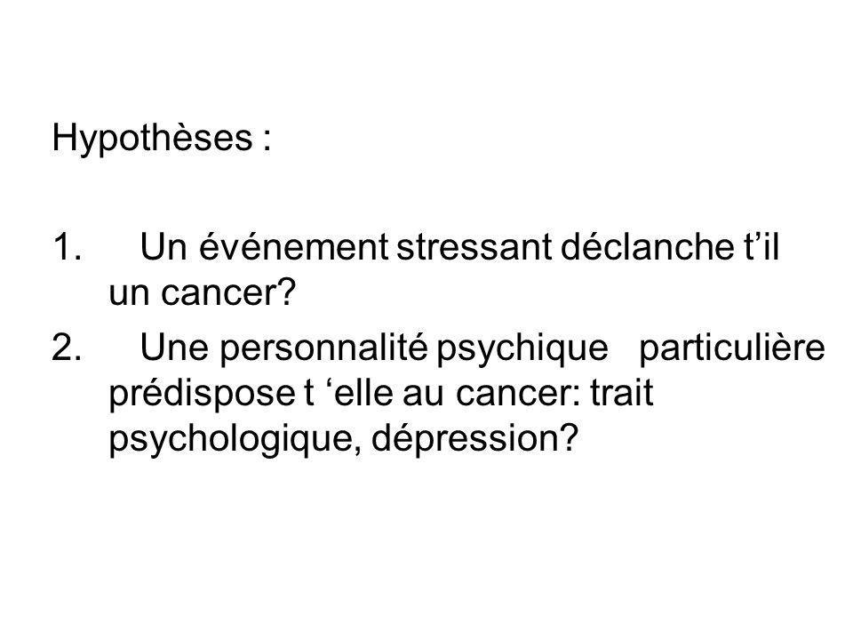 Hypothèses : 1.Un événement stressant déclanche til un cancer.