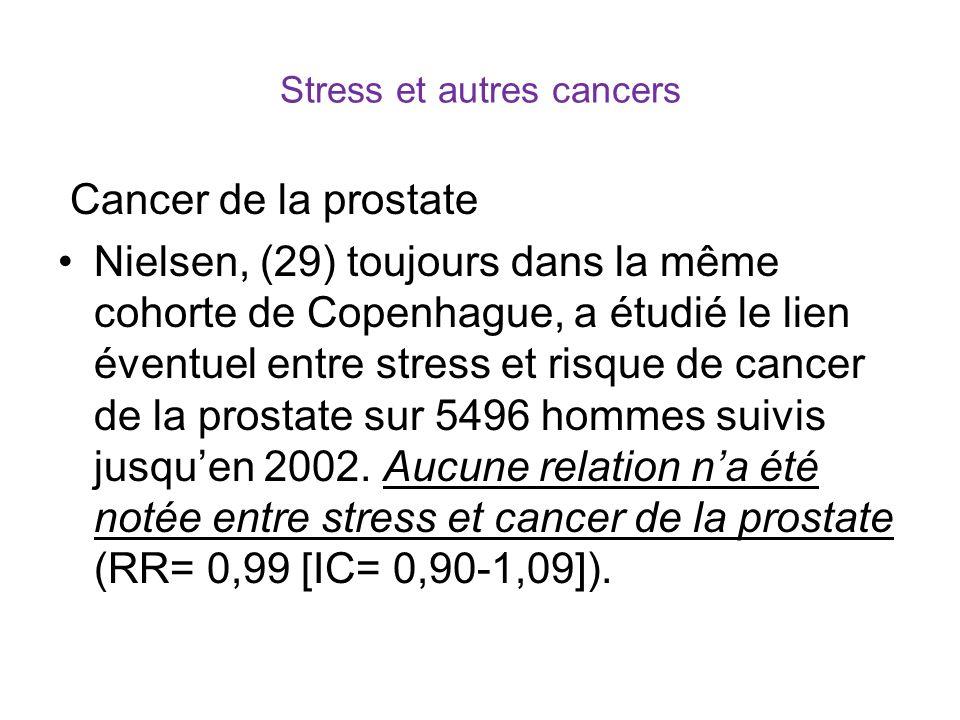 Stress et autres cancers Cancer de la prostate Nielsen, (29) toujours dans la même cohorte de Copenhague, a étudié le lien éventuel entre stress et risque de cancer de la prostate sur 5496 hommes suivis jusquen 2002.