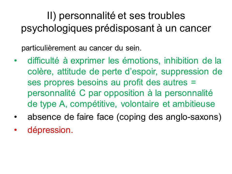 II) personnalité et ses troubles psychologiques prédisposant à un cancer particulièrement au cancer du sein.