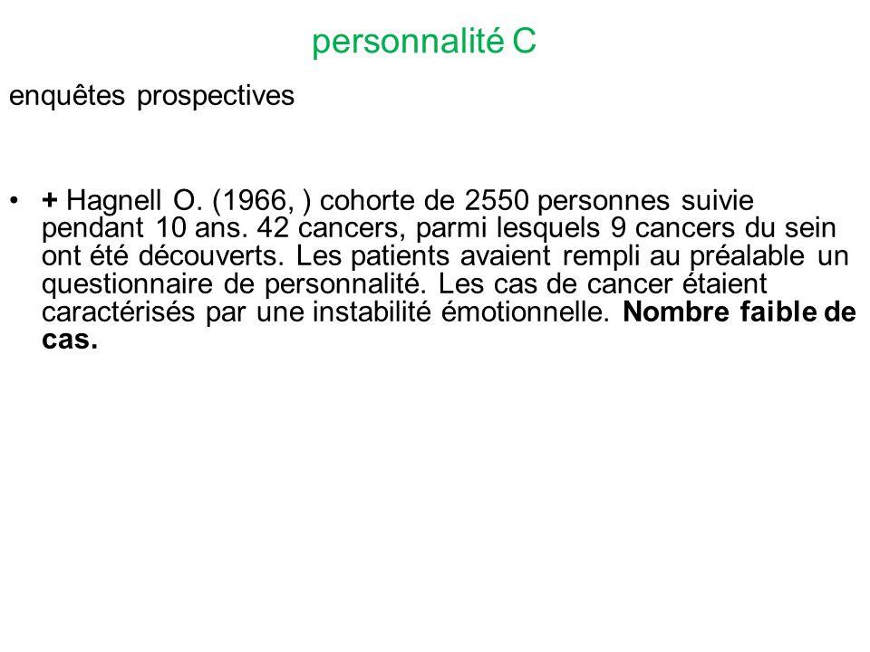 personnalité C enquêtes prospectives + Hagnell O.