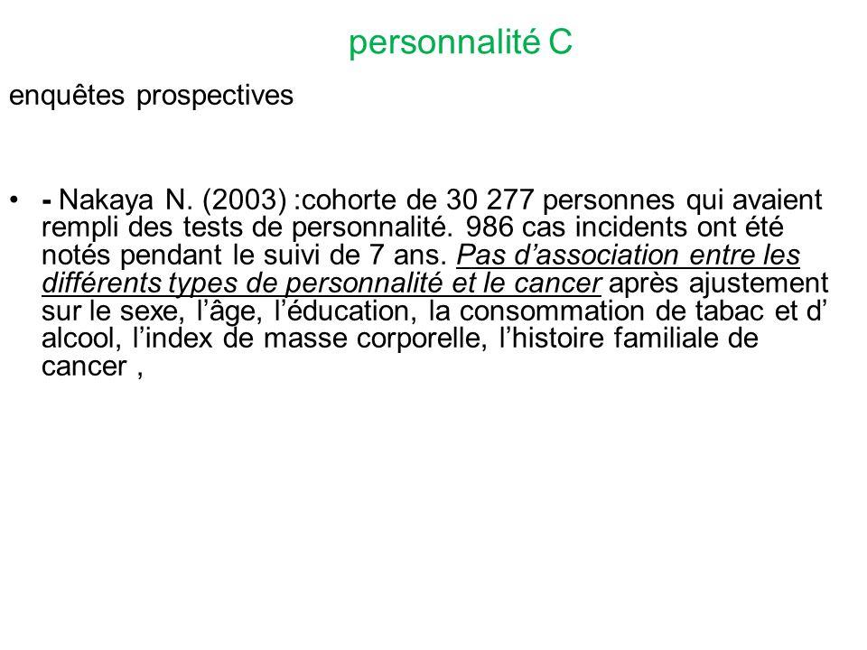 personnalité C enquêtes prospectives - Nakaya N.