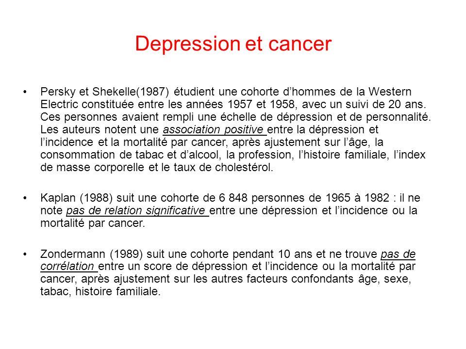 Depression et cancer Persky et Shekelle(1987) étudient une cohorte dhommes de la Western Electric constituée entre les années 1957 et 1958, avec un suivi de 20 ans.