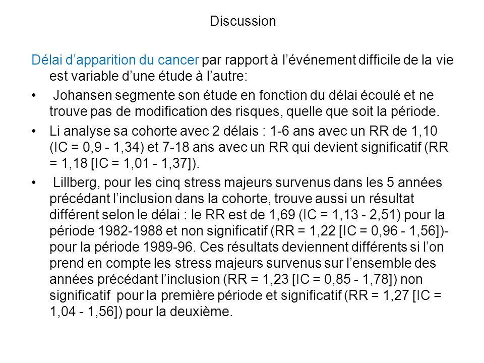 Discussion Délai dapparition du cancer par rapport à lévénement difficile de la vie est variable dune étude à lautre: Johansen segmente son étude en f