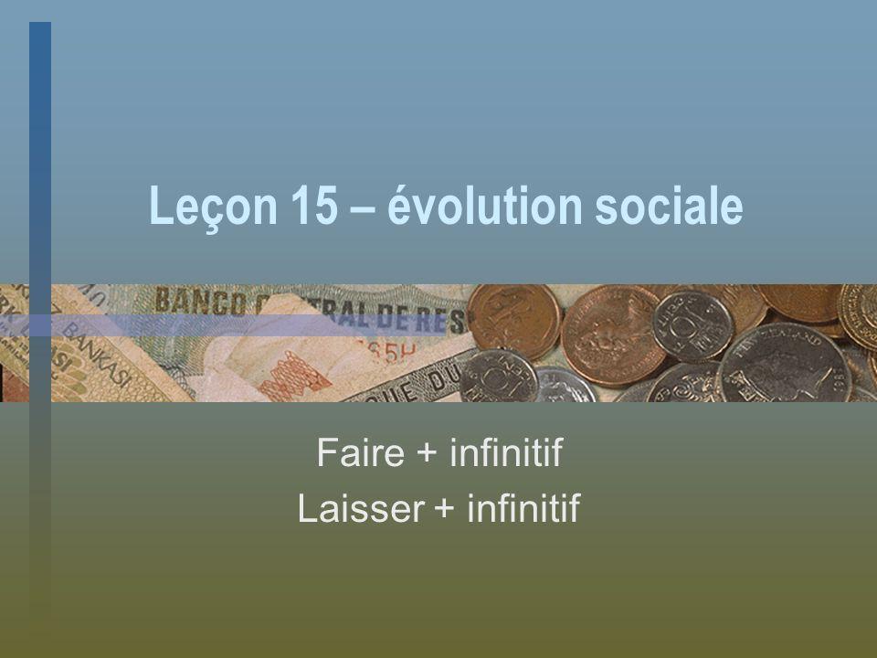 Leçon 15 – évolution sociale Faire + infinitif Laisser + infinitif