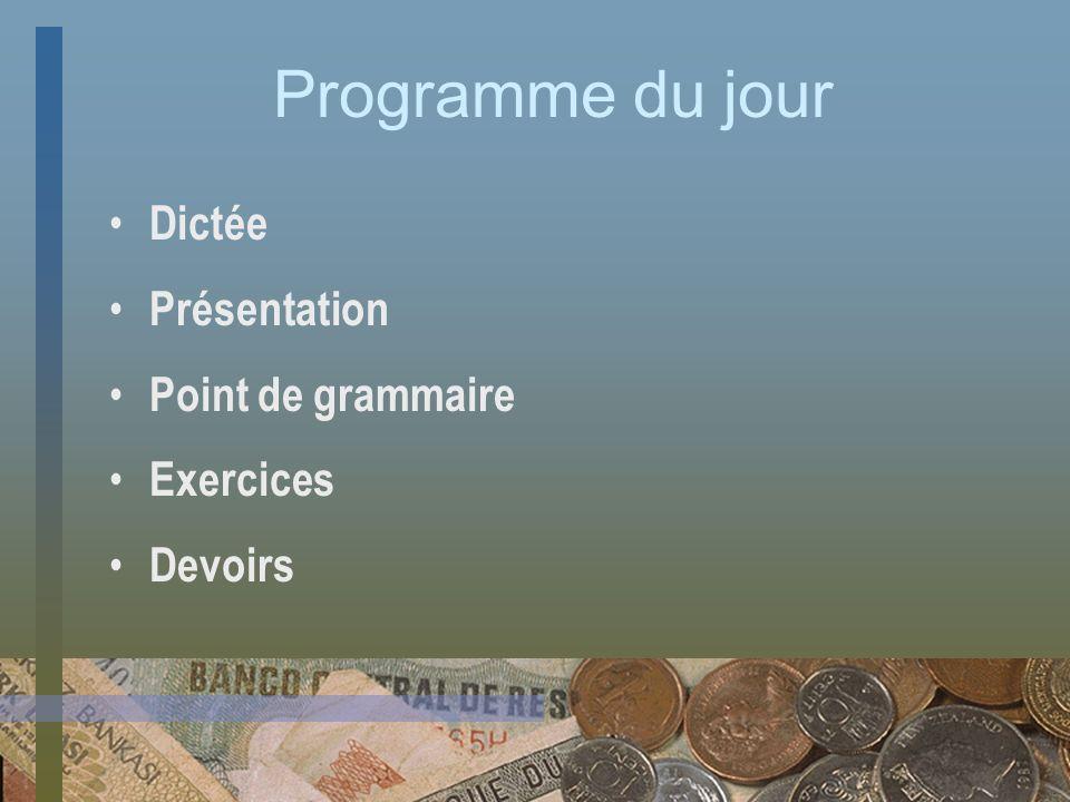 Programme du jour Dictée Présentation Point de grammaire Exercices Devoirs