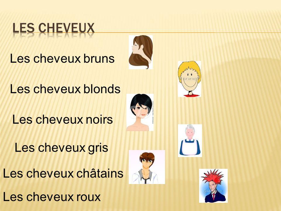 Les cheveux gris Les cheveux blonds Les cheveux noirs Les cheveux bruns Les cheveux châtains Les cheveux roux
