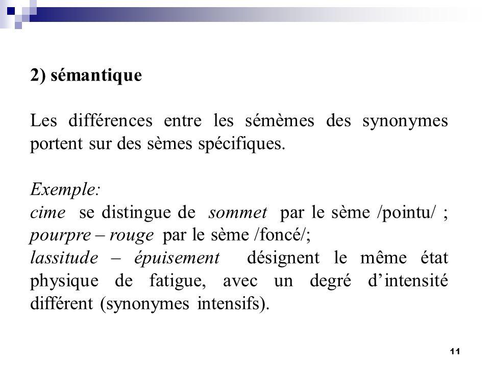 11 2) sémantique Les différences entre les sémèmes des synonymes portent sur des sèmes spécifiques. Exemple: cime se distingue de sommet par le sème /