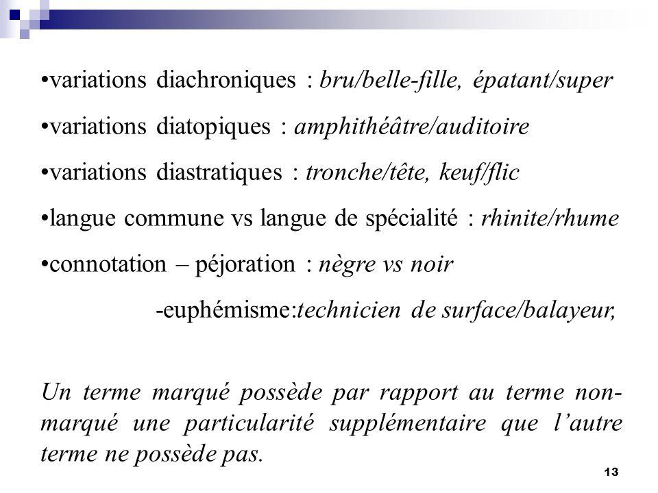 13 variations diachroniques : bru/belle-fille, épatant/super variations diatopiques : amphithéâtre/auditoire variations diastratiques : tronche/tête,