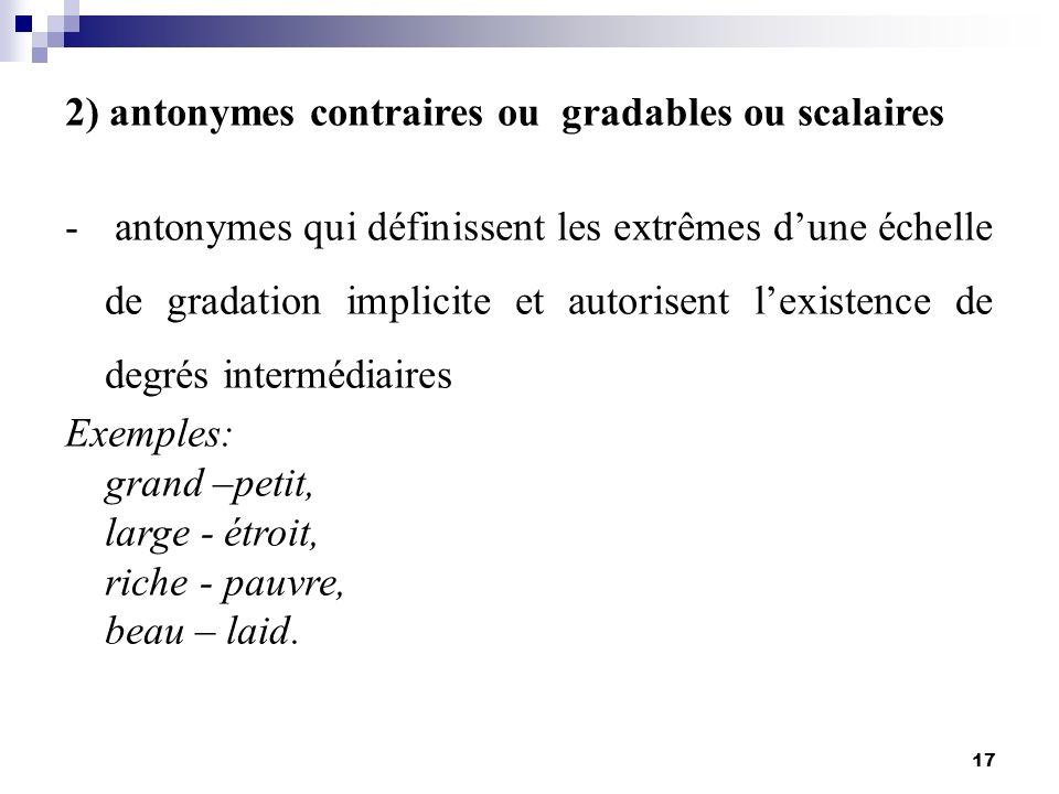 17 2) antonymes contraires ou gradables ou scalaires - antonymes qui définissent les extrêmes dune échelle de gradation implicite et autorisent lexist