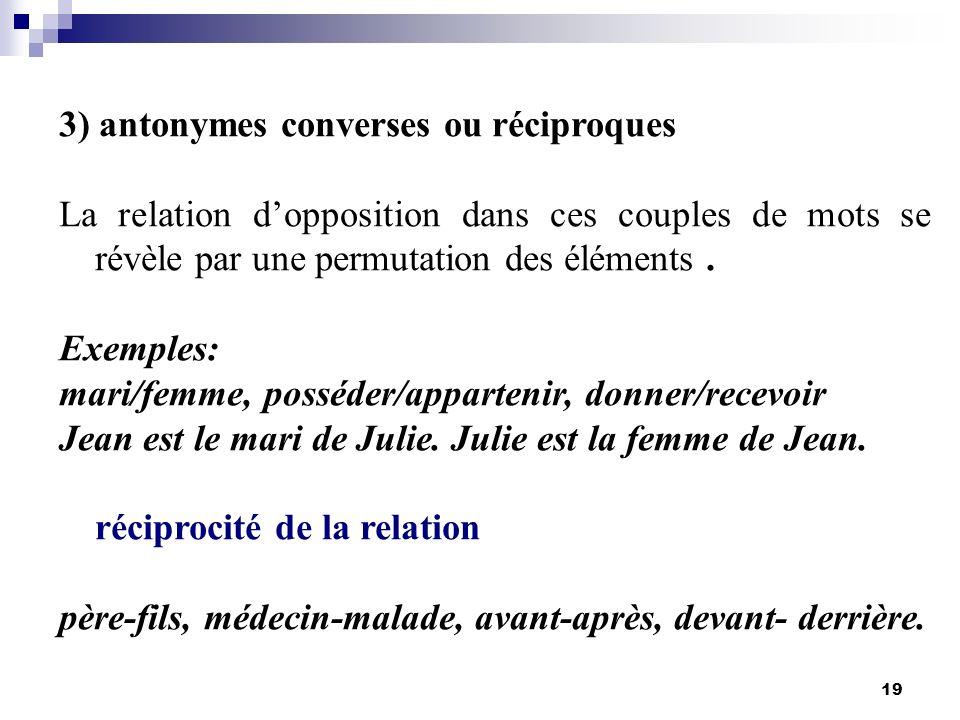 19 3) antonymes converses ou réciproques La relation dopposition dans ces couples de mots se révèle par une permutation des éléments. Exemples: mari/f