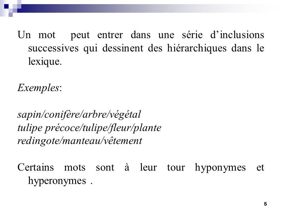 5 Un mot peut entrer dans une série dinclusions successives qui dessinent des hiérarchiques dans le lexique. Exemples: sapin/conifère/arbre/végétal tu