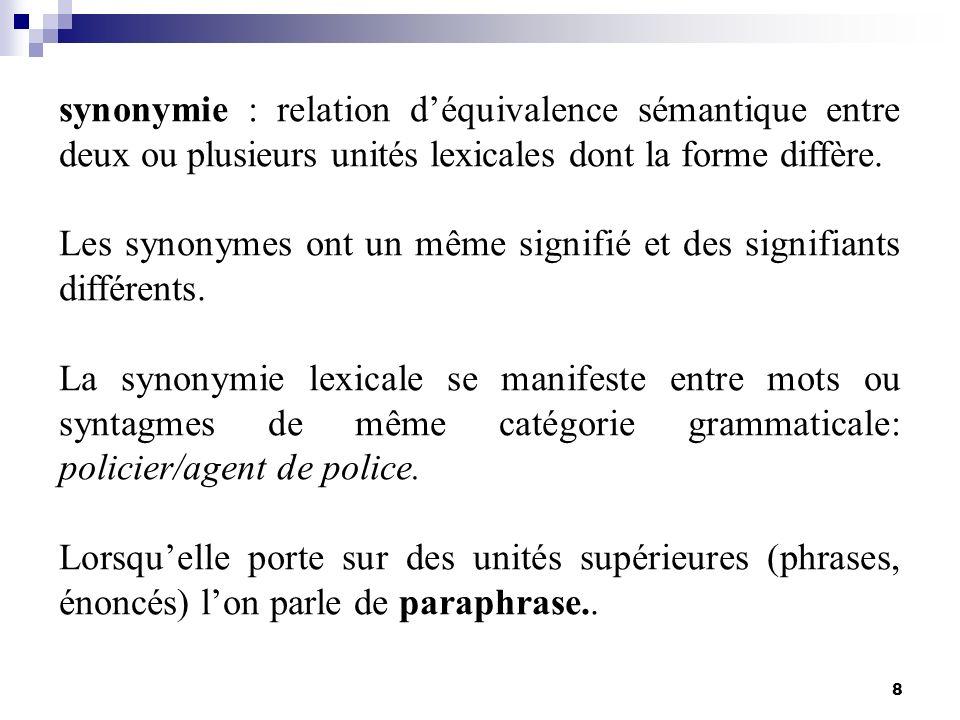 8 synonymie : relation déquivalence sémantique entre deux ou plusieurs unités lexicales dont la forme diffère. Les synonymes ont un même signifié et d