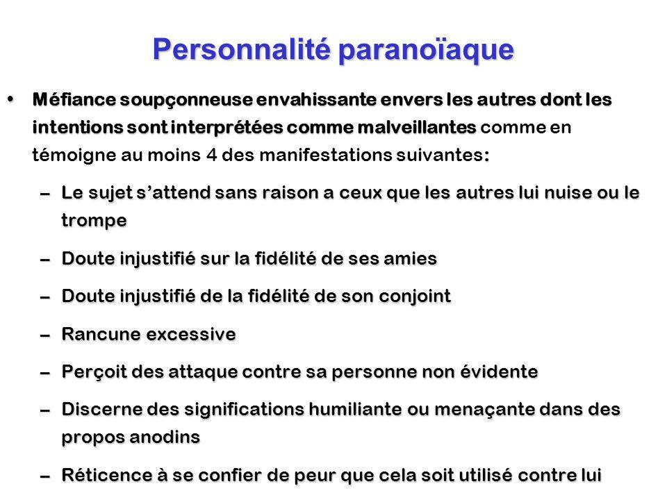 Personnalité paranoïaque Méfiance soupçonneuse envahissante envers les autres dont les intentions sont interprétées comme malveillantes :Méfiance soup