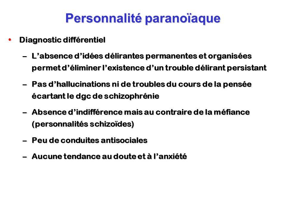 Personnalité paranoïaque Diagnostic différentielDiagnostic différentiel –Labsence didées délirantes permanentes et organisées permet déliminer lexiste