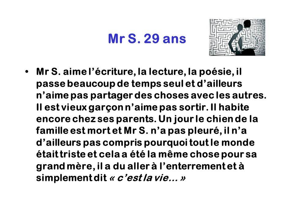 Mr S. 29 ans Mr S. aime lécriture, la lecture, la poésie, il passe beaucoup de temps seul et dailleurs naime pas partager des choses avec les autres.